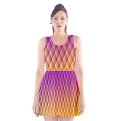 Triangle Plaid Chevron Wave Pink Purple Yellow Rainbow Scoop Neck Skater Dress