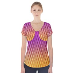Triangle Plaid Chevron Wave Pink Purple Yellow Rainbow Short Sleeve Front Detail Top