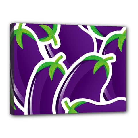 Vegetable Eggplant Purple Green Canvas 16  x 12