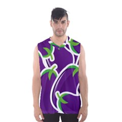Vegetable Eggplant Purple Green Men s Basketball Tank Top