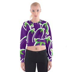 Vegetable Eggplant Purple Green Cropped Sweatshirt