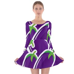 Vegetable Eggplant Purple Green Long Sleeve Velvet Skater Dress