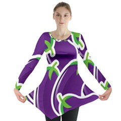 Vegetable Eggplant Purple Green Long Sleeve Tunic