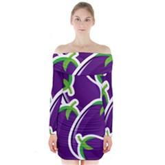 Vegetable Eggplant Purple Green Long Sleeve Off Shoulder Dress