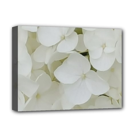 Hydrangea Flowers Blossom White Floral Photography Elegant Bridal Chic  Deluxe Canvas 16  x 12