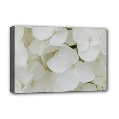 Hydrangea Flowers Blossom White Floral Photography Elegant Bridal Chic  Deluxe Canvas 18  x 12