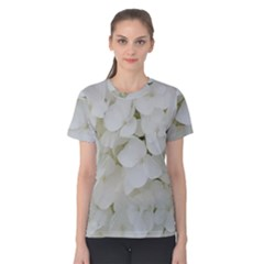 Hydrangea Flowers Blossom White Floral Photography Elegant Bridal Chic  Women s Cotton Tee
