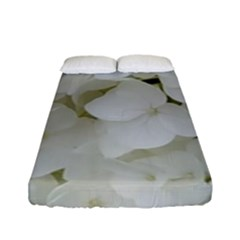 Hydrangea Flowers Blossom White Floral Photography Elegant Bridal Chic  Fitted Sheet (Full/ Double Size)