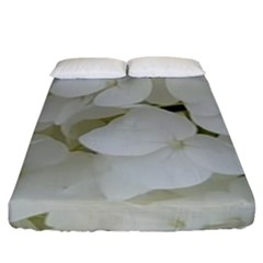 Hydrangea Flowers Blossom White Floral Photography Elegant Bridal Chic  Fitted Sheet (King Size)