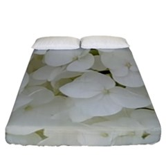 Hydrangea Flowers Blossom White Floral Photography Elegant Bridal Chic  Fitted Sheet (California King Size)