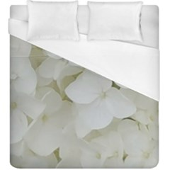Hydrangea Flowers Blossom White Floral Photography Elegant Bridal Chic  Duvet Cover (King Size)