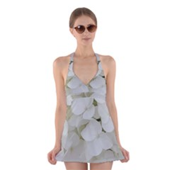 Hydrangea Flowers Blossom White Floral Photography Elegant Bridal Chic  Halter Swimsuit Dress