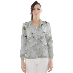 Hydrangea Flowers Blossom White Floral Photography Elegant Bridal Chic  Wind Breaker (Women)