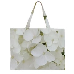 Hydrangea Flowers Blossom White Floral Photography Elegant Bridal Chic  Zipper Large Tote Bag