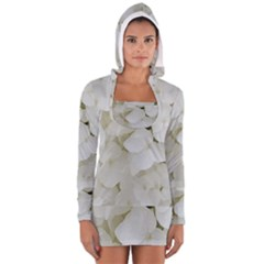 Hydrangea Flowers Blossom White Floral Photography Elegant Bridal Chic  Women s Long Sleeve Hooded T-shirt