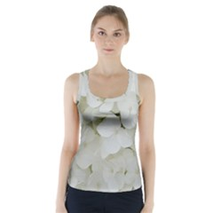 Hydrangea Flowers Blossom White Floral Photography Elegant Bridal Chic  Racer Back Sports Top