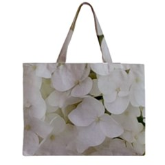 Hydrangea Flowers Blossom White Floral Photography Elegant Bridal Chic  Medium Zipper Tote Bag