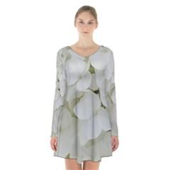 Hydrangea Flowers Blossom White Floral Photography Elegant Bridal Chic  Long Sleeve Velvet V-neck Dress
