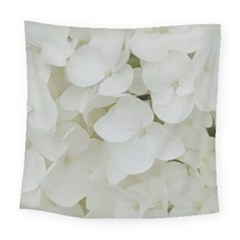 Hydrangea Flowers Blossom White Floral Photography Elegant Bridal Chic  Square Tapestry (Large)