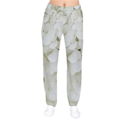 Hydrangea Flowers Blossom White Floral Photography Elegant Bridal Chic  Drawstring Pants