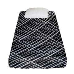 Pattern Metal Pipes Grid Fitted Sheet (single Size)