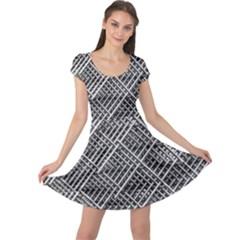 Pattern Metal Pipes Grid Cap Sleeve Dresses