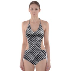 Pattern Metal Pipes Grid Cut-Out One Piece Swimsuit