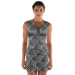 Pattern Metal Pipes Grid Wrap Front Bodycon Dress