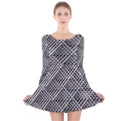Pattern Metal Pipes Grid Long Sleeve Velvet Skater Dress