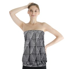 Pattern Metal Pipes Grid Strapless Top