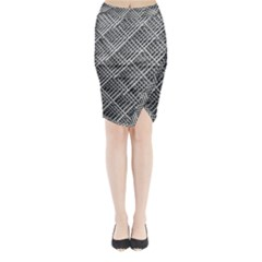 Pattern Metal Pipes Grid Midi Wrap Pencil Skirt