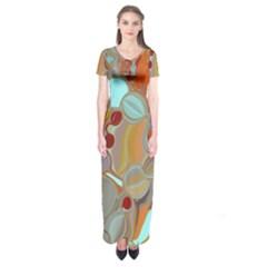 Liquid Bubbles Short Sleeve Maxi Dress