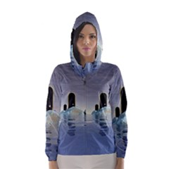 Abstract Gates Doors Stars Hooded Wind Breaker (Women)
