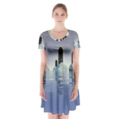 Abstract Gates Doors Stars Short Sleeve V-neck Flare Dress
