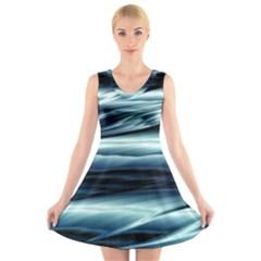 Texture Fractal Frax Hd Mathematics V Neck Sleeveless Skater Dress