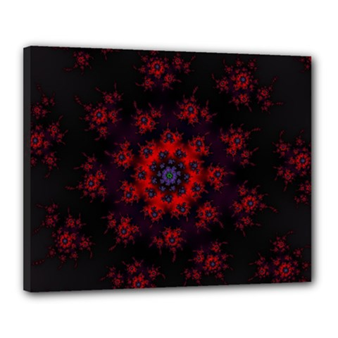 Fractal Abstract Blossom Bloom Red Canvas 20  x 16