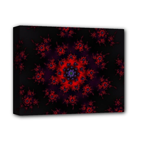 Fractal Abstract Blossom Bloom Red Deluxe Canvas 14  x 11