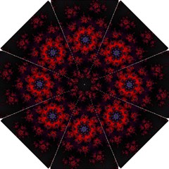 Fractal Abstract Blossom Bloom Red Hook Handle Umbrellas (small)