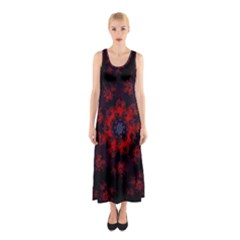 Fractal Abstract Blossom Bloom Red Sleeveless Maxi Dress