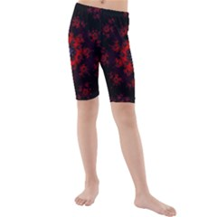 Fractal Abstract Blossom Bloom Red Kids  Mid Length Swim Shorts