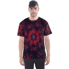 Fractal Abstract Blossom Bloom Red Men s Sport Mesh Tee