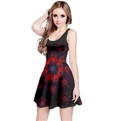 Fractal Abstract Blossom Bloom Red Reversible Sleeveless Dress