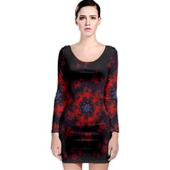 Fractal Abstract Blossom Bloom Red Long Sleeve Bodycon Dress