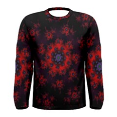 Fractal Abstract Blossom Bloom Red Men s Long Sleeve Tee