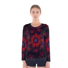 Fractal Abstract Blossom Bloom Red Women s Long Sleeve Tee