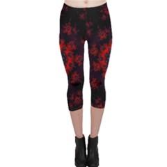 Fractal Abstract Blossom Bloom Red Capri Leggings