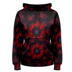 Fractal Abstract Blossom Bloom Red Women s Pullover Hoodie