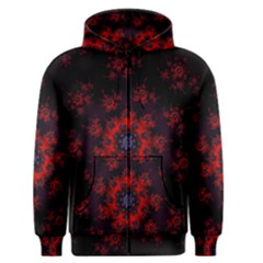 Fractal Abstract Blossom Bloom Red Men s Zipper Hoodie