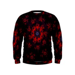 Fractal Abstract Blossom Bloom Red Kids  Sweatshirt