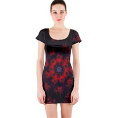 Fractal Abstract Blossom Bloom Red Short Sleeve Bodycon Dress